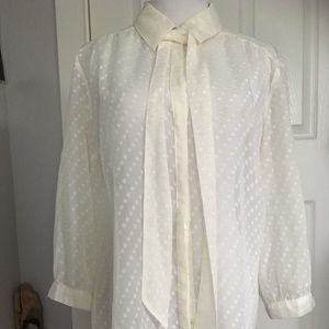New York & Co Sheer White Button Down Blouse L